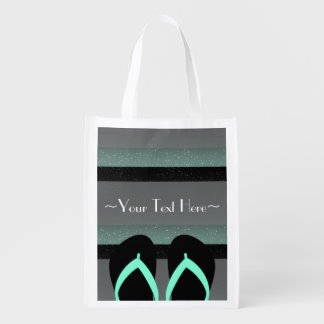 Striped Monogram Sea Mint Green Reusable Shop Bag Market Tote