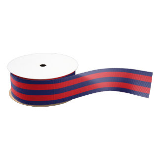 Striped | Navy Blue & Red | Any Size & Length | Grosgrain Ribbon