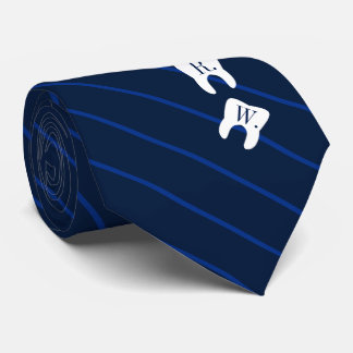 Striped Navy Dentistry Initialized Teeth Tie