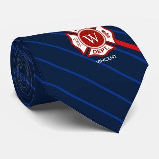 Striped Navy Fire Rescue Maltese Cross Monogram Tie