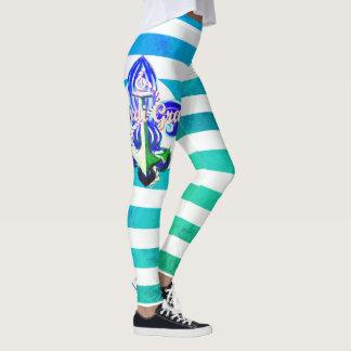Striped Ocean Mardi Gras Leggings
