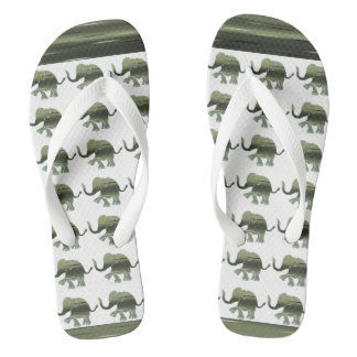 Striped Olive-Green Elephants on White Flip Flops