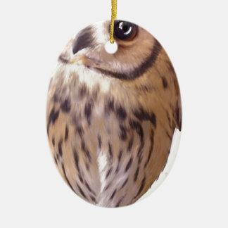 striped owl ceramic oval ornament