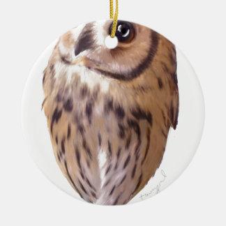 Striped owl round ceramic ornament