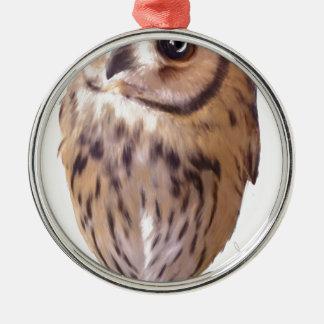 striped owl Silver-Colored round ornament