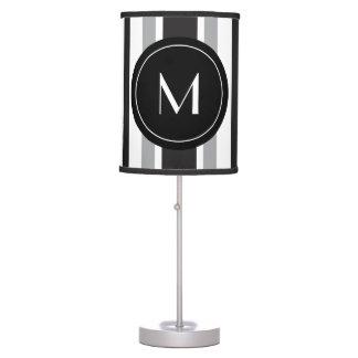 Striped Pattern Gray Black White Custom Initial Table Lamp