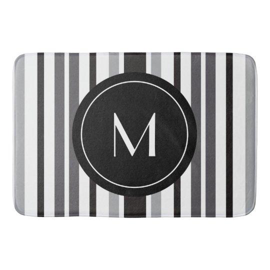 Striped Pattern Grey Black White Personal Monogram Bathroom Mat