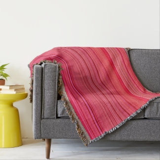 Striped Pattern Print Red Throw Blanket