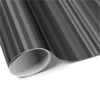 Striped Pattern Print Stripes Black Grey Gray Wrapping Paper