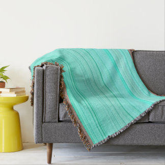 Striped Pattern Print Stripes Green Teal Seafoam Throw Blanket