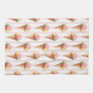 Striped pattern with Ice cream Kitchen Towel