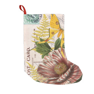 Striped Peony And Yellow Moth Collage Small Christmas Stocking