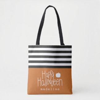 striped personalised Happy Halloween tote bag