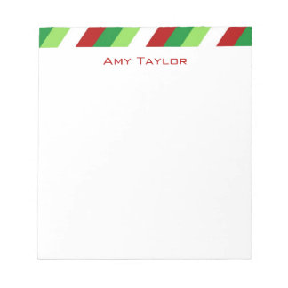Striped Personalized Christmas Notepad