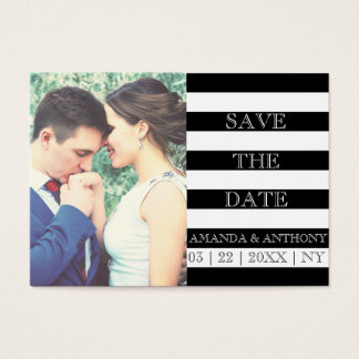 Striped photo save the date business card