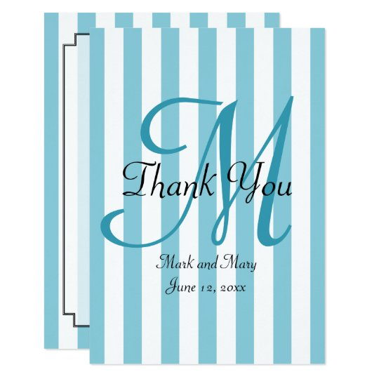 Striped Pick Any Colour Wedding Monogram Thank You Card