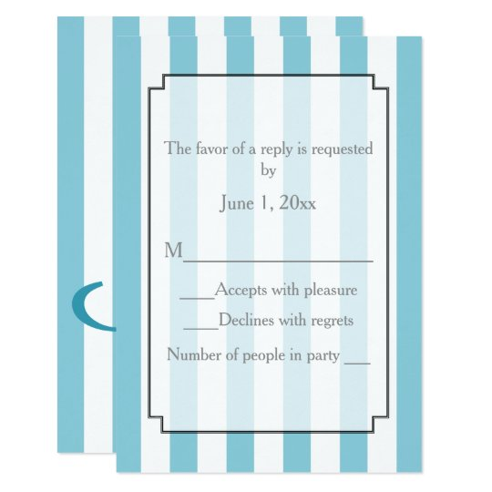 Striped Pick Any Colour Wedding Personalized RSVP Card
