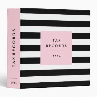 Striped Pink Tax Records Binders