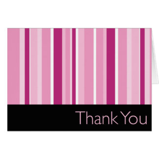 Striped Pink Thank You Card