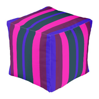Striped Pouf-Home -Burgundy/Pink/Green/Purple/Blue Pouf