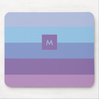 Striped Purple and Blue Palette with Monogram Mouse Pad