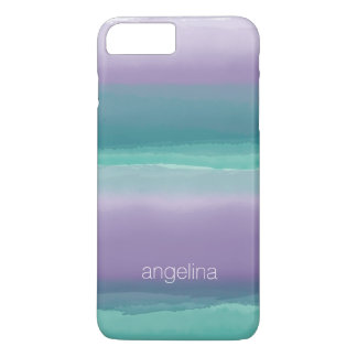 Striped Purple and Teal Watercolor Custom Name iPhone 8 Plus/7 Plus Case