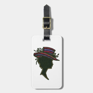 Striped Purple & Red Hat Cameo Luggage Tag