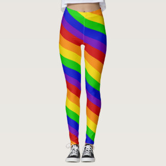 Striped Rainbow Colors Leggings PRIDE Colorful Fun
