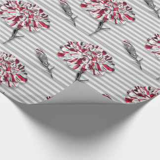 Striped Red and White Carnation on Gray Stripes Wrapping Paper