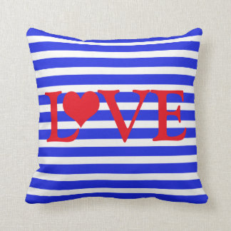 Striped Red White & Blue Love with Heart Throw Pillow