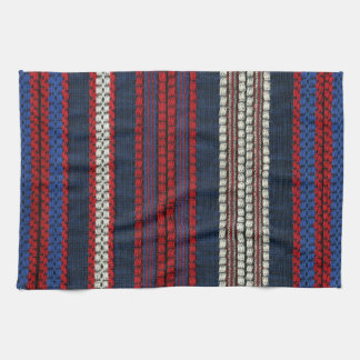 Striped Retro Red White and Blue Hippy Stripes Kitchen Towel