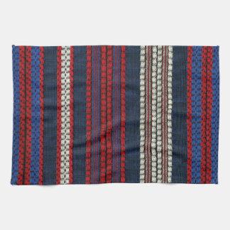 Striped Retro Red White and Blue Hippy Stripes Kitchen Towel