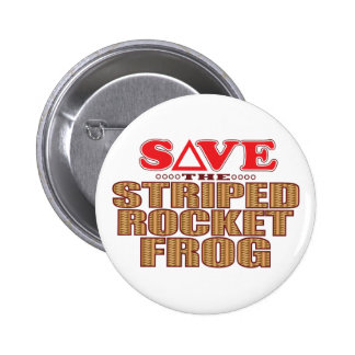Striped Rocket Frog Save 2 Inch Round Button