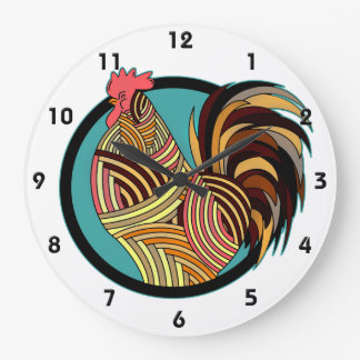 Striped Rooster Chicken Circle Large Clock