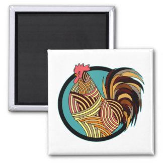 Striped Rooster Chicken Circle Magnet