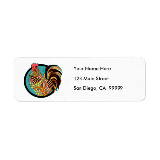 Striped Rooster Chicken Circle Return Address Label