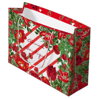 Striped Rose Peony Flower Christmas Store Gift Bag