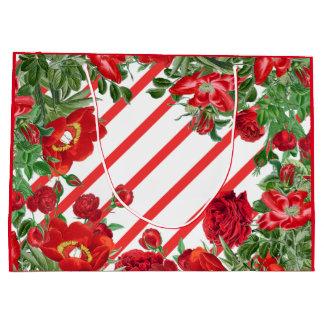 Striped Rose Peony Flowers Christmas Gift Bag