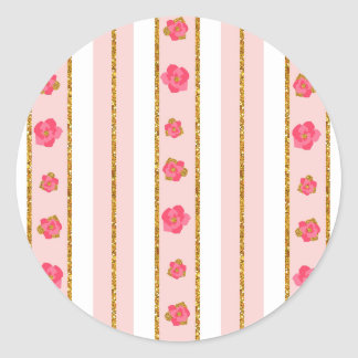 Striped Roses Envelope Seal Round Sticker