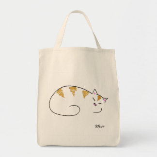 Striped Sleepy Kitty Tote Bag