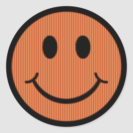Striped Smiley Face Classic Round Sticker