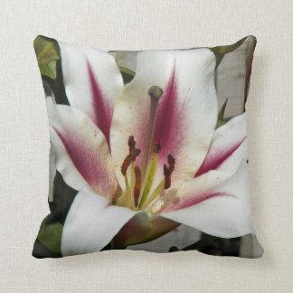 Striped Stargazer Lily Floral Throw Pillow