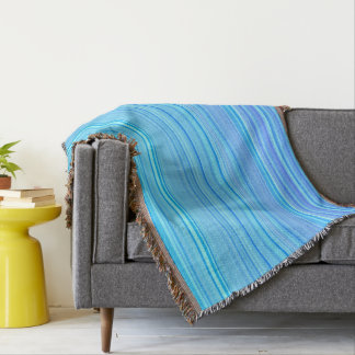 Striped Stripes Pattern Print Blue Throw Blanket