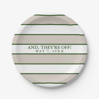 Striped Taupe/Hunter Green Personalized 7 Inch Paper Plate