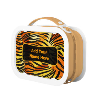 Striped Tiger Fur Print Pattern Personalized Lunch Boxes