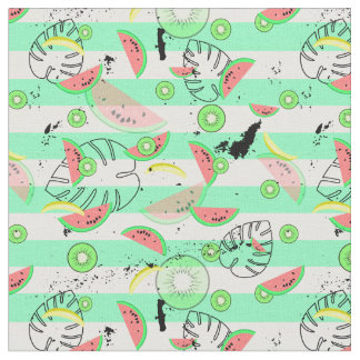 Striped Tropics with palm leaves and watermelons Fabric
