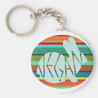Striped Vegan Bunny Keychain