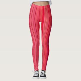 Striped Vertical Stripes Red Leggings