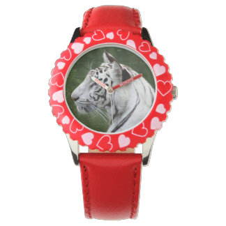 Striped White Tiger beautiful photo Wrist Watches
