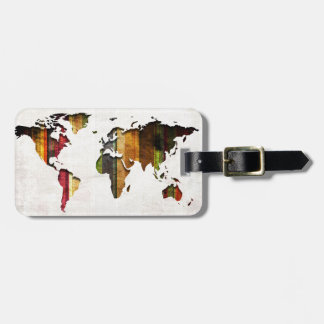 Striped World Map Vintage Style Luggage Tag